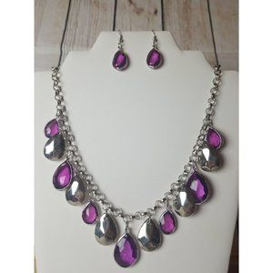 Paparazzi Purple and Silver Necklace and Earrings